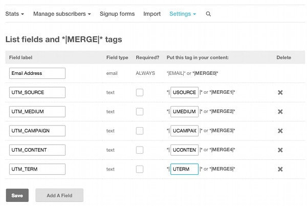 Mailchimp Add UTM parameters