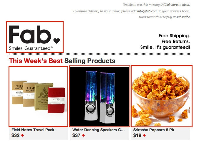 Links in Fab.com emails