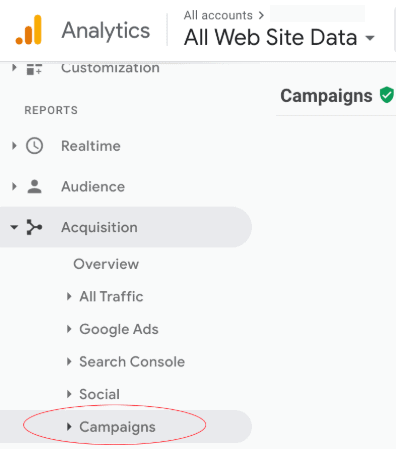 campaign section Google Analytics